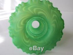 FENTON RARE LIME GREEN SATINIZED SWIRLED FEATHER FAIRY LAMP WITH CANDLE HOLDER