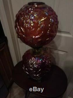 FENTON REGAL IRIS CRANBERRY CARNIVAL LAMP Only (7) made. (Very rare)