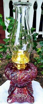 FENTON Ruby Carnival Glass Limited Edition Rose Presznic Poppy Oil Lamp. Signed