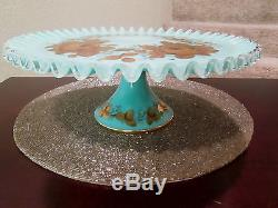 FENTON TURQUOISE SILVER CREST CHARLETON DEOCRATED CAKE STAND 1956 NO RESERVE