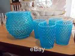 FENTON Turquoise Blue Opalescent Hobnail Pitcher & Glasses