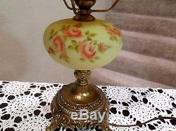 Fenton Vintage Burmese Student Lamp Hand Painted With Roses Selling No Reserve