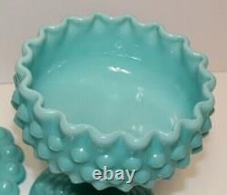 FENTON VINTAGE TURQUOISE HOBNAIL PEDESTAL FOOTED COMPOTE WithCOVER, MINT @1955-58
