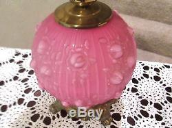 Fenton Wild Rose Overlay Gone With The Wind Lamp Circa 1967 Selling No Reserve
