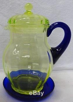 FENTON crystal TOPAZ VASELINE 13-piece Lemonade or Ice Set Pitcher Lid Coaster