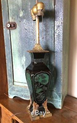 FREDERICK CARDER for STEUBEN Lamp Acid Etched Mirror Black on Jade Green Pagoda