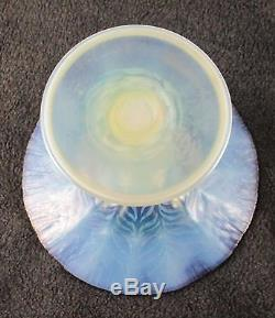 Fantastic LCT TIFFANY Favrile Pastel Blue Violet Compote Dish Opalescent Signed