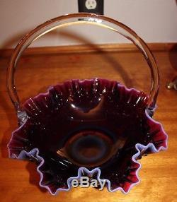 Fenton 12 Plum Opalescent Hobnail Basket