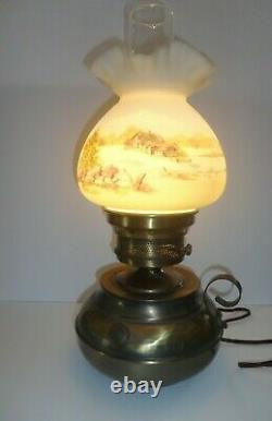 Fenton 17''Hammered Brass Lamp HP Country House on Custard Glass Shade Gorgeous