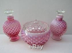 Fenton 1940s Cranberry Opalescent Hobnail Glass Powder Jar Perfume SetNO RESERV