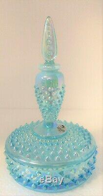 Fenton 2003 Qvc Blue Topaz Aqua Opalescent Iridized Hobnail Perfume Boxtle N Box