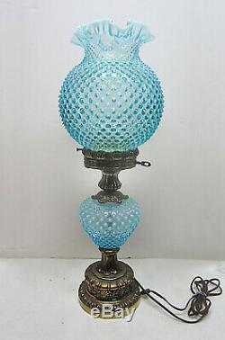 Fenton 24 Blue Opalescent Hobnail Glass Gone With The Wind Lamp