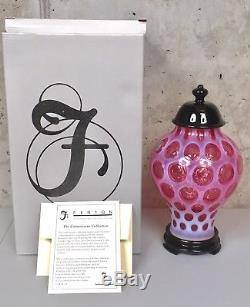 Fenton 6504 CR Cranberry Ginger Jar Coin Dot 2002 Limited Glass Carnival