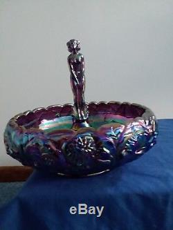 Fenton Amethyst Carnival Glass Sept Morn Nude Waterlillies Bowl Set