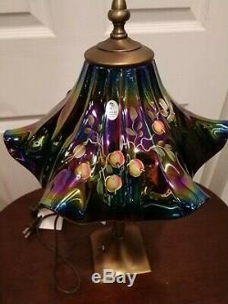 Fenton Amethyst Carnival Hand Painted Lamp by J Powell