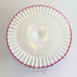 Fenton Apple Blossom Crest Pedestal Cake Stand RARE Color MCM Pink Ruffle Edge