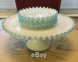 Fenton Aqua Crest 13 Inch Cake Stand and Four 6 1/2 Inch Dessert Plates