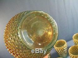 Fenton Aqua Marigold Opalescent Iridescent Hobnail Water Set Pitcher 6 Tumblers