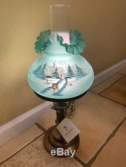 Fenton Art Glass 1995 Christmas Star Light Green Lamp Signed Ltd Ed #411/500