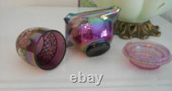 Fenton Art Glass 1995 Plum Carnival 3 Pc Fairy Light Htf