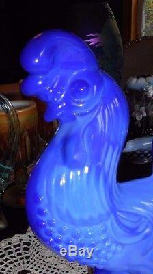 Fenton Art Glass 2004 Chantcileer Rooster Periwinkle Blue Only 18 Made