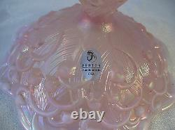 Fenton Art Glass 2 Pink Opalescent Candle Sticks Lily of the Valley USA Vintage