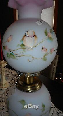 Fenton Art Glass Blue Burmese 3-way Electric Lamp