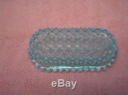 Fenton Art Glass Blue Opalescent Hobnail 1/4 Lb. Butter Dish With Cover