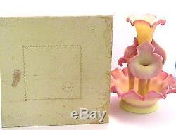 Fenton Art Glass Burmese 1983 Connoisseur 5 Pc Epergne Mint In Original Box