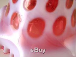 Fenton Art Glass Coin Dot Cranberry Opalescent No 1458 Ruffled 8 1/4 Vase
