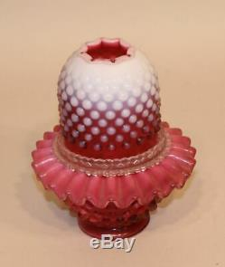 Fenton Art Glass Country Cranberry Opalescent Hobnail 3-Piece Fairy Lamp 3380CR