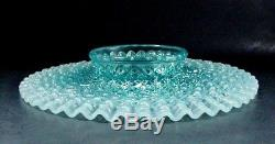 Fenton Art Glass French Opalescent Blue Diamond Lace Cake Stand / Plate Rare