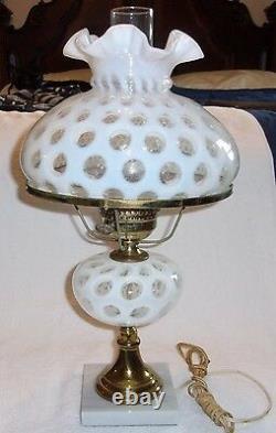 Fenton Art Glass French Opalescent Coin Dot Parlor Boudoir Lamp
