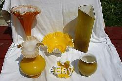 Fenton Art Glass Goldenrod Silver Crest Overlay 12 Fan Vase Extremely Rare