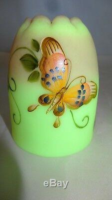 Fenton Art Glass HP Butterfly Pink Burmese Fairy Light Lamp 7610ST