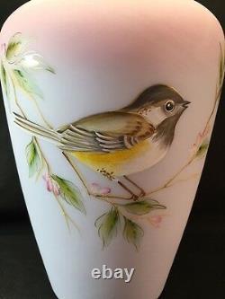 Fenton Art Glass Hand Painted Blue Burmese Song Bird Vase LIMITED
