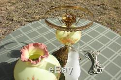 Fenton Art Glass Hand Painted Burmese GWTW Hurricane Lamp Pink Roses T Budine