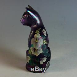 Fenton Art Glass Iridescent Sitting Cat Kitten Hand Painted Signed