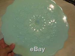 Fenton Art Glass Jadeite Spanish Lace Cake Stand 12 3/4 Diameter