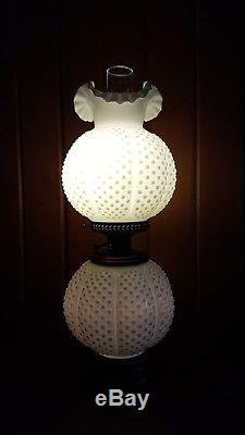 Fenton Art Glass Milk Glass Hobnail GONE WITH THE WIND Lamp 3 Piece