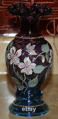 Fenton Art Glass Mulberry Vase George/Bill Fenton 50 Year 1946-1996 Sue Jackson