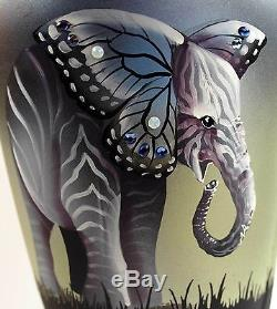 Fenton Art Glass OOAK 13.75 Black Satin Sylized Animals Design Vase
