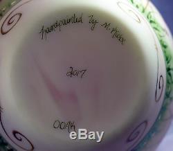 Fenton Art Glass OOAK Burmese Glass Vase with Handpainted Cats and Bluebirds