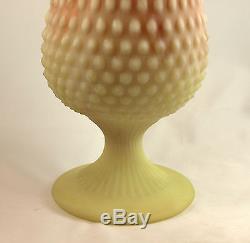 Fenton Art Glass OOAK Burmese Satin Hobnail Large Sample Vase