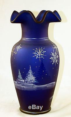 Fenton Art Glass OOAK Cobalt Satin Snowflakes Design Vase