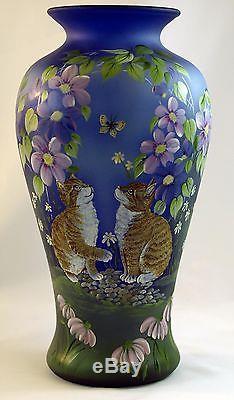 Fenton Art Glass OOAK Cobalt Satin Vase with Handpainted Kittens