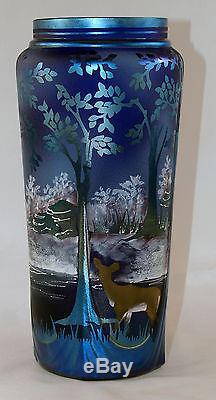 Fenton Art Glass OOAK Favrene Sandcarved/Painted Deer/Hunter Scene on Vase