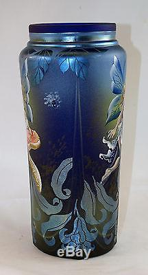 Fenton Art Glass OOAK Favrene Vase Nymphs and Mushrooms Design