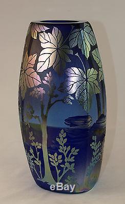 Fenton Art Glass OOAK Favrene Vase Sandcarved, Handpainted Cowboy Campfire