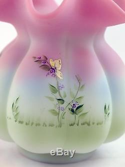 Fenton Art Glass OOAK Handpainted Bunny Scene on Lotus Mist Burmese Basket